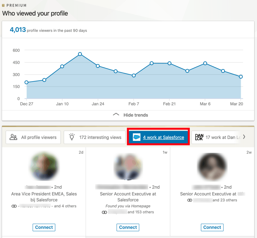 This section lists all the people who have viewed your profile over the last 90 days.