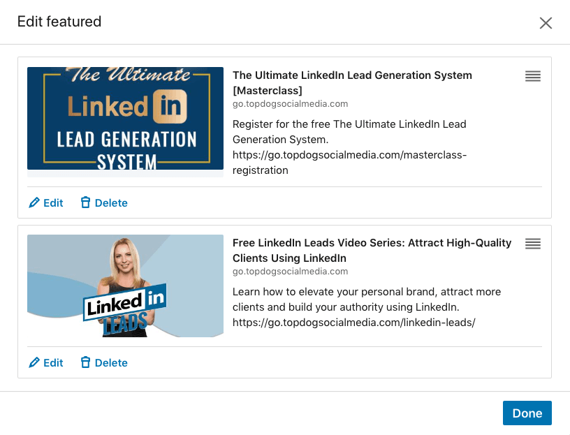 Edit LinkedIn's Featured section