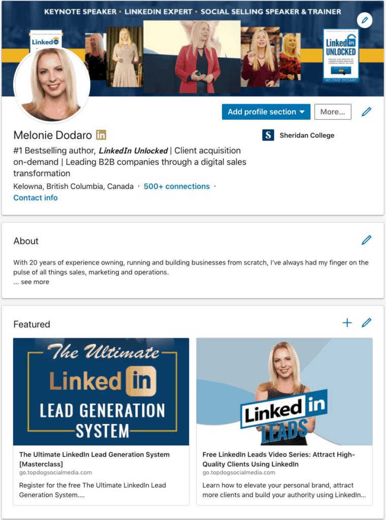 The Featured section on LinkedIn