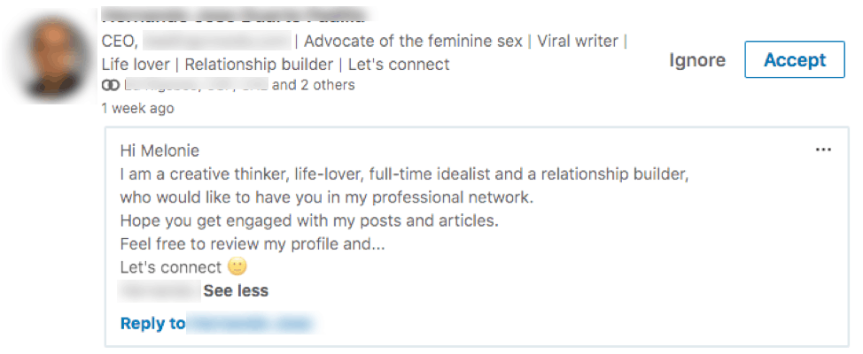 Bad LinkedIn connection requests, example 3.