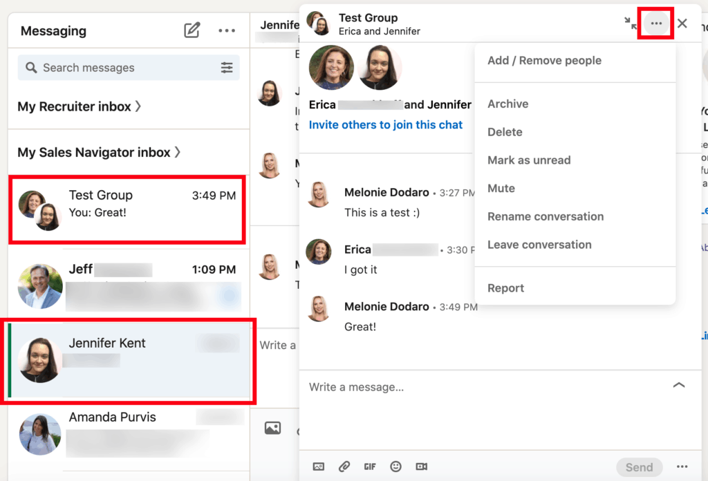 Invite others to join a group chat on LinkedIn